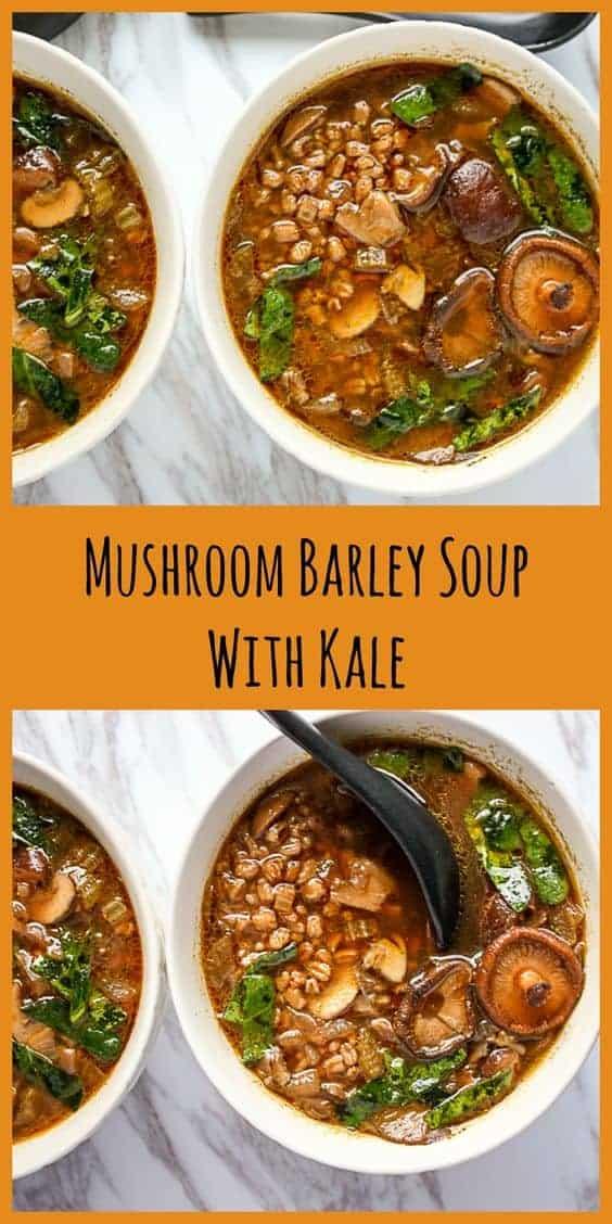 Mushroom Barley Soup With Kale