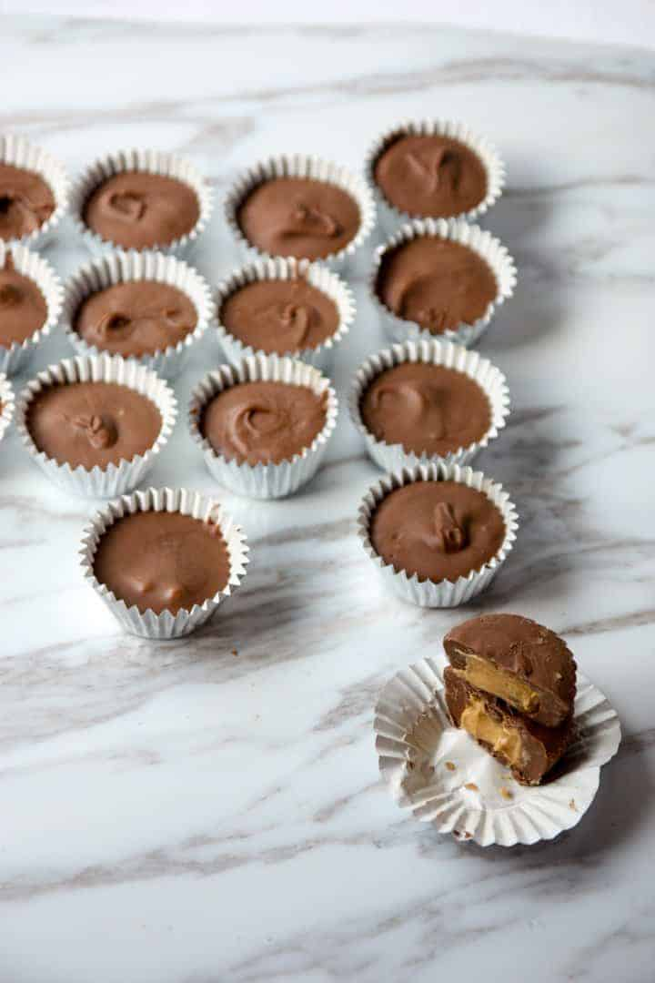 Peanut butter cups in paper liners