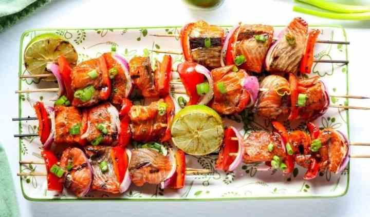 Grilled Asian Sesame Salmon Kebabs