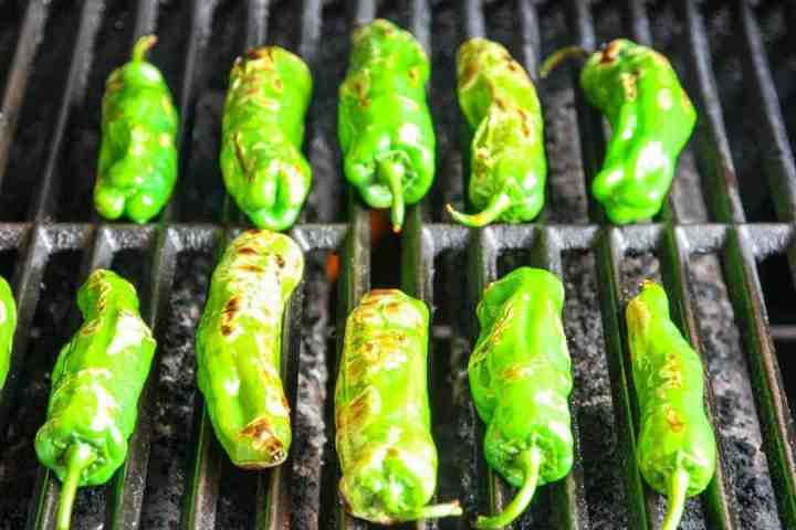 Shishito peppers on the grill, starting to blister