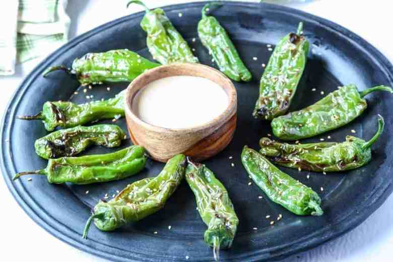 Grilled Sesame Shishito Peppers