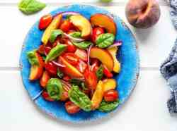 Peach and Tomato Salad with Basil & Red Onion
