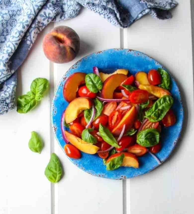 Tomato Peach Salad with Basil