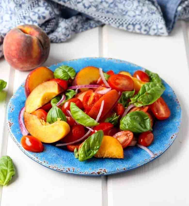 Peach & Tomato Salad with Basil
