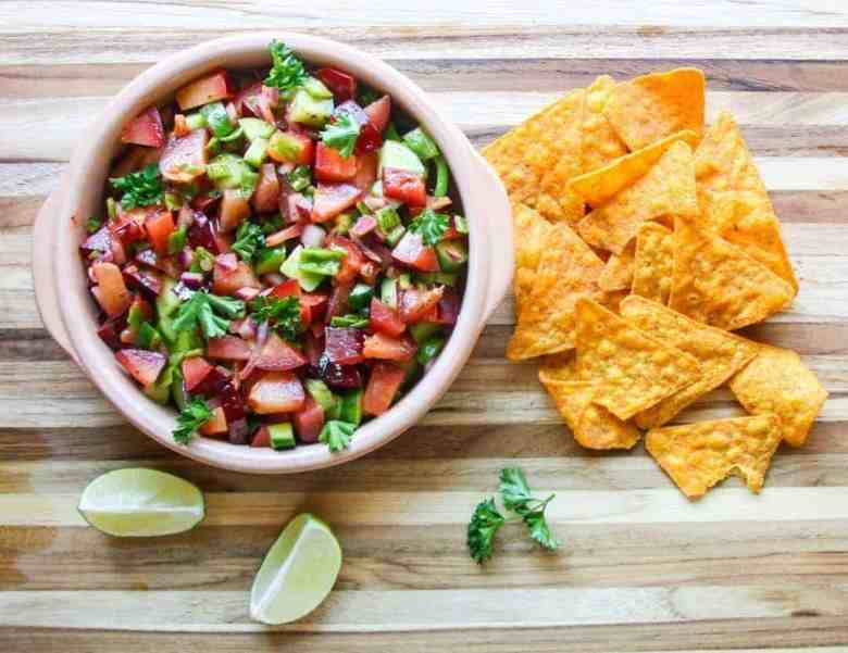 Plum Salsa with Tortilla Chips