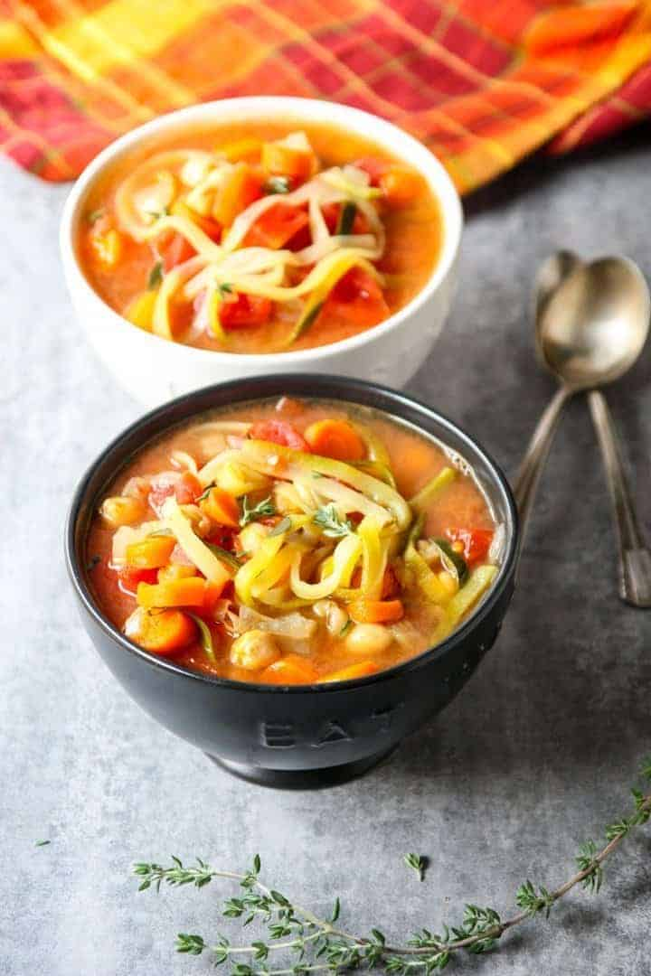 Vegetable Zucchini Noodle Soup in 2 Bowls
