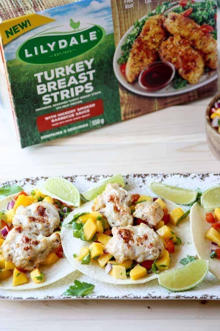 Turkey Breast Strips with Mango Salsa on Corn Tortillas