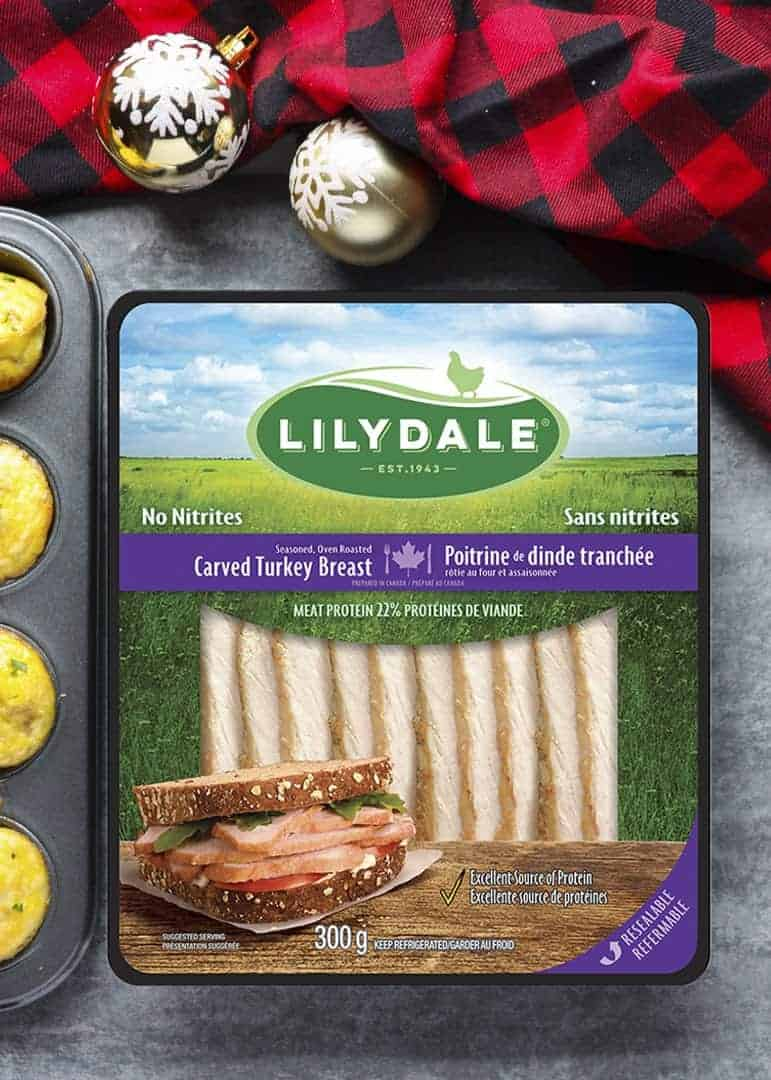 A package of cooked turkey breast slices