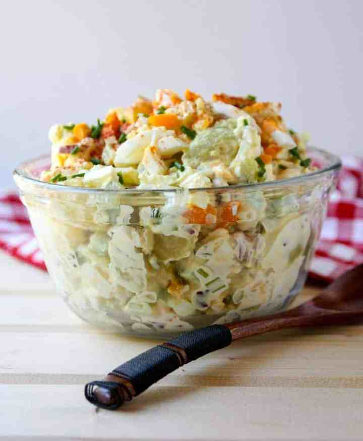 potato salad in a glass bowl