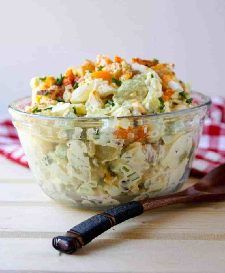 potato salad in a glass bowl