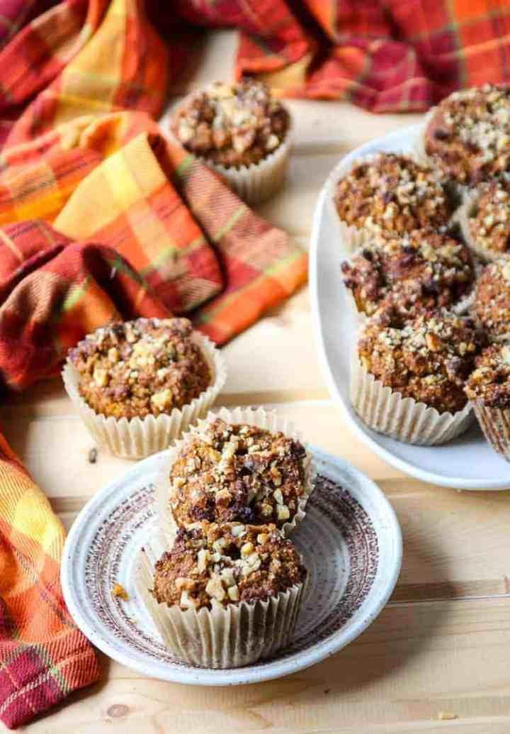 Pumpkin Pecan Muffins on a white platter
