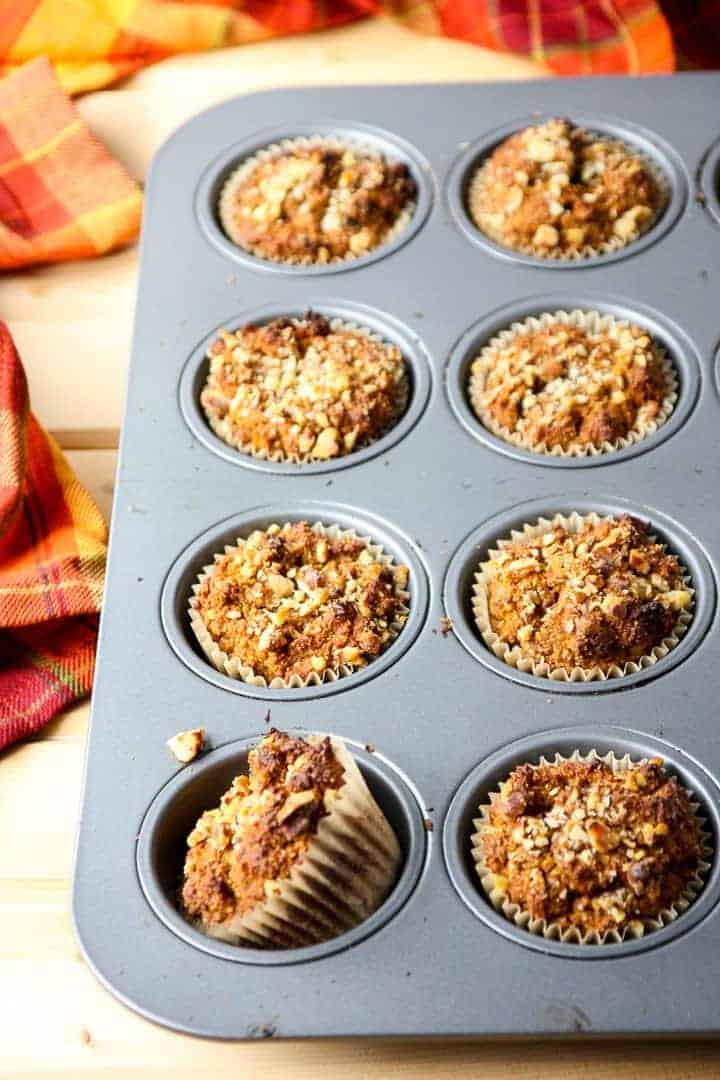 Pumpkin Pecan Muffins in a muffin pan