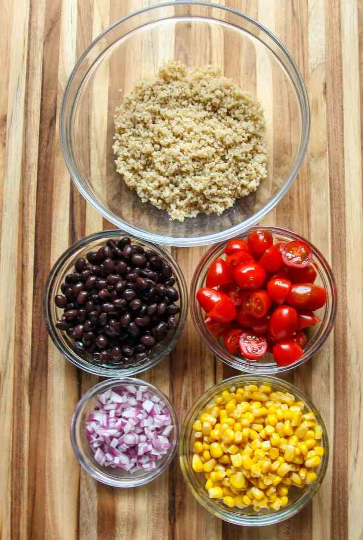 The ingredients to make Southwestern Quinoa Salad