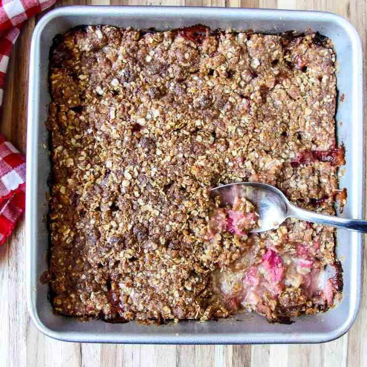 Fully baked rhubarb crisp in the baking pan.