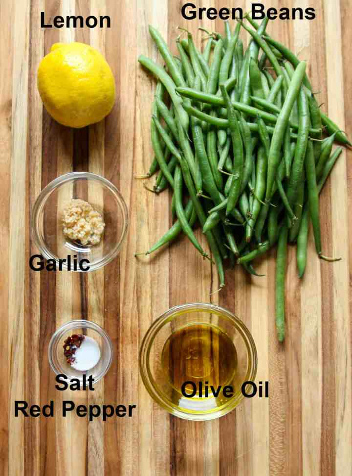 The ingredients to make this recipe on a wooden cutting board.
