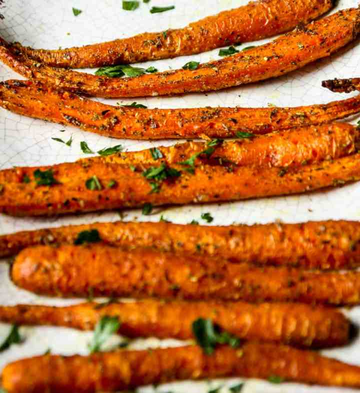 A close up of roasted air fried carrots.