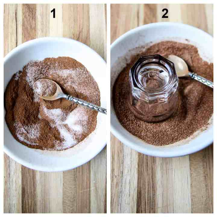 Steps one and two to make the recipe.