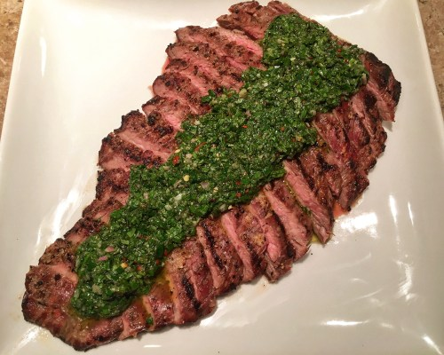 Argentinian Style Flank Steak and Chimichurri