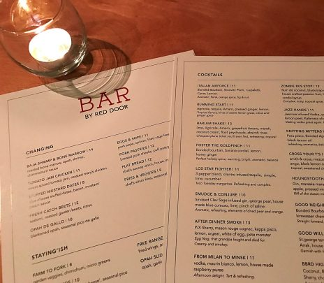menus bar by red door