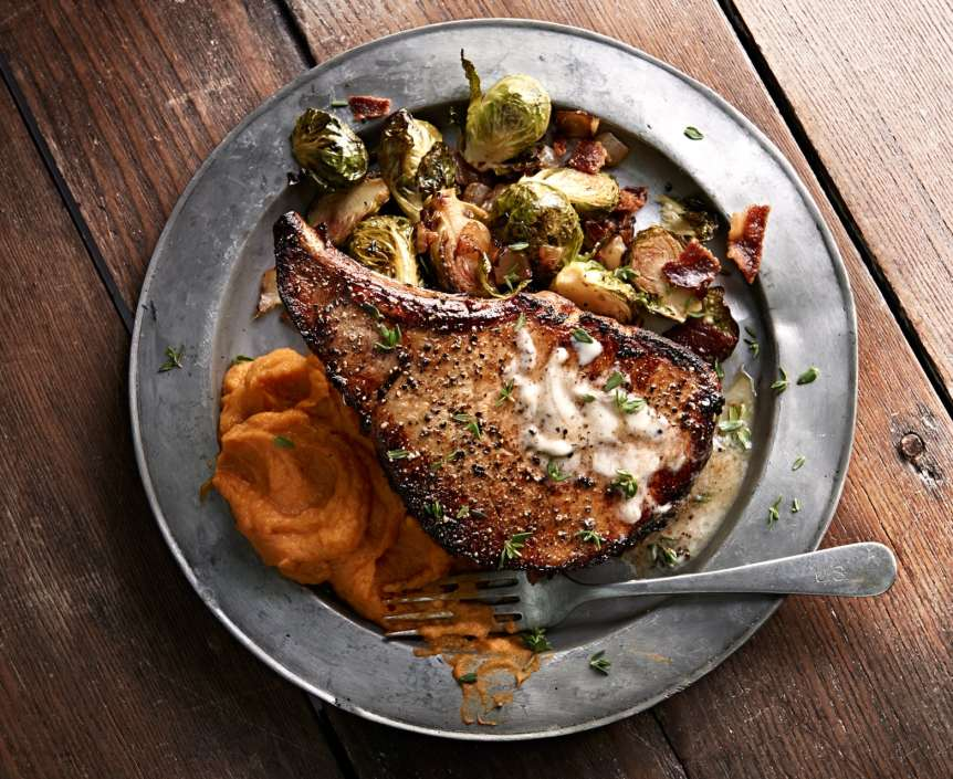 commercial food, food photography, advertising, restaurant, editorial, cookbooks, cook books, table top, dining, drinks, beverage, pork chop, brussel sprouts, brick house tavern and tap, food styling , Ralph Smith Food Beverage Photography