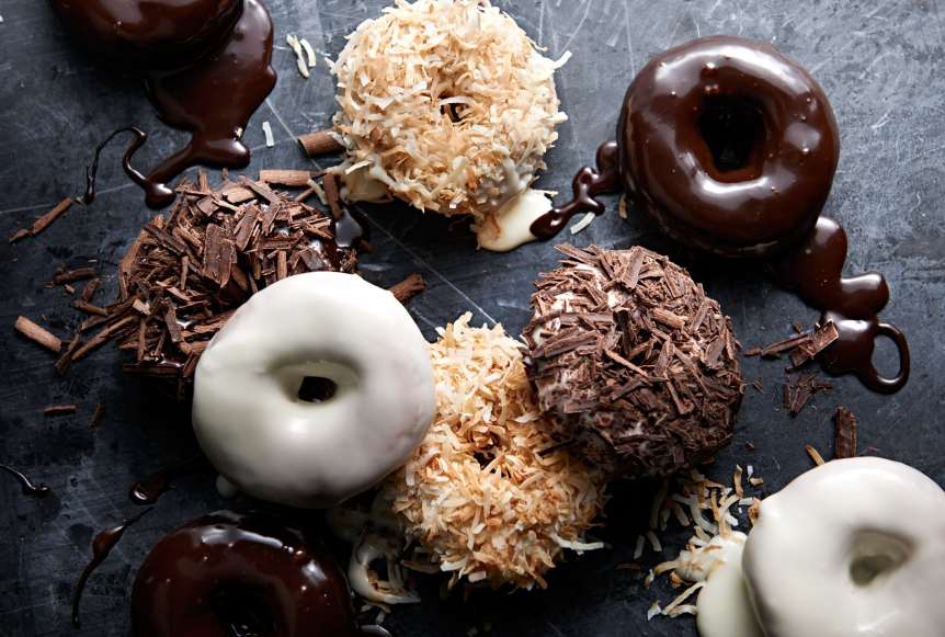 studio, commercial food, food photography, advertising, restaurant, editorial, cookbooks, cook books, Dallas, Houston, food styling, prop styling, props, state of the art, commercial kitchen, donuts, breakfast, dessert, chocolate, coconut, Ralph Smith Dessert Photography