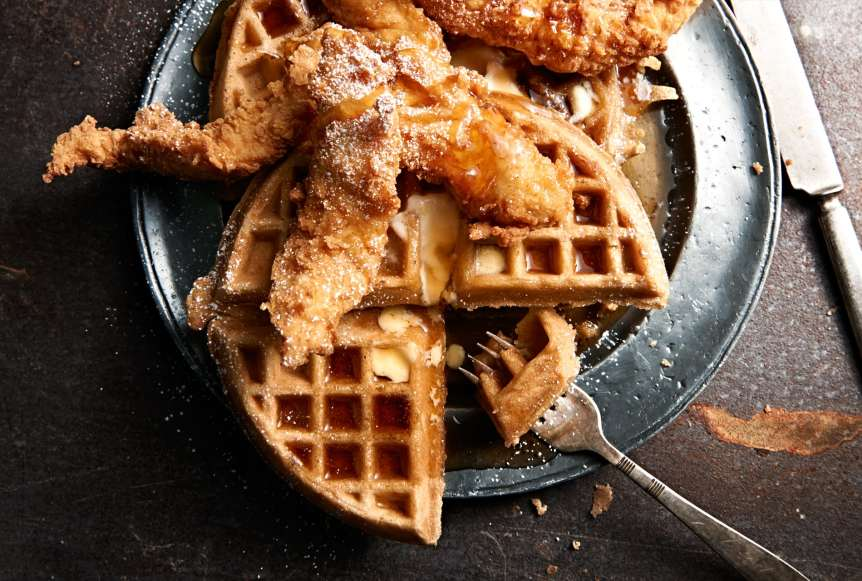 commercial food, food photography, advertising, restaurant, editorial, cookbooks, cook books, table top, dining, drinks, beverage, food styling, prop styling, chicken and waffles, syrup, powdered sugar, butter, breakfast, brunch, Ralph Smith Food Beverage Photography