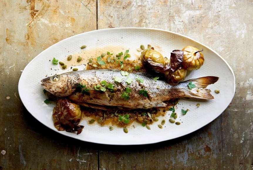 commercial food, food photography, advertising, restaurant, editorial, cookbooks, cook books, table top, dining, drinks, beverage, fish, garlic, branzino, tomatillos, pepita, food styling, prop styling, Ralph Smith Food Beverage Photography