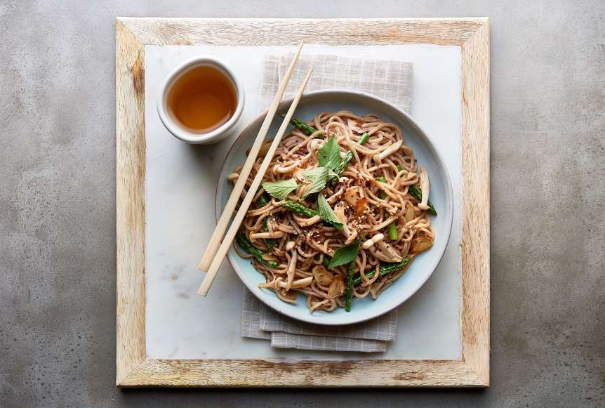 Ralph Smith Savory Food Beverage Photography, asian noodles, restaurant, chop sticks, soy sauce, sake