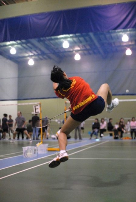 badminton player in the air