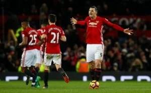 Zlatan Ibrahimovic celebrates scoring the equaliser against Liverpool