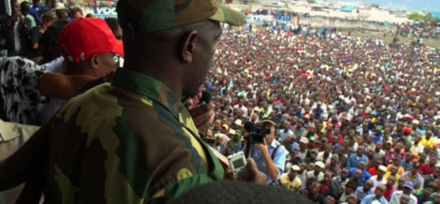 M23 offices address a crowd at a rally in the city. Uganda had managed to broker a peace between the rebels and the DRC Government