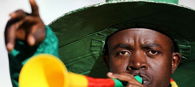 The vuvuzela has become a trademark of African football after the World Cup in South Africa three years ago. [Álvaro Felipe]