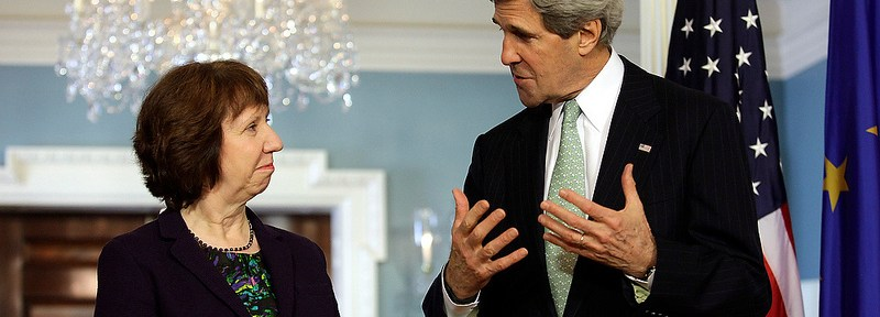 Catherine Ashton of the EU meets with John Kerry