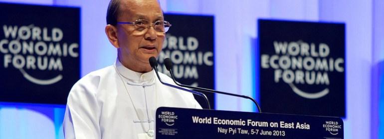 Thein Sein, President of Burma (Myanmar), speaking during the World Economic Forum on East Asia in Nay Pyi Taw, Burma, June 6 ,2013.