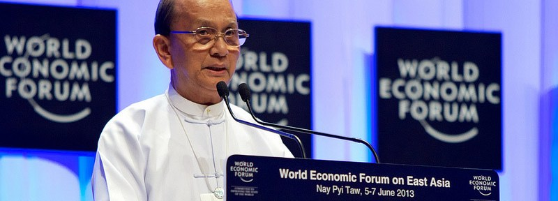 Thein Sein, President of Burma (Myanmar), speaking during the World Economic Forum on East Asia in Nay Pyi Taw, Burma, June 6 ,2013.