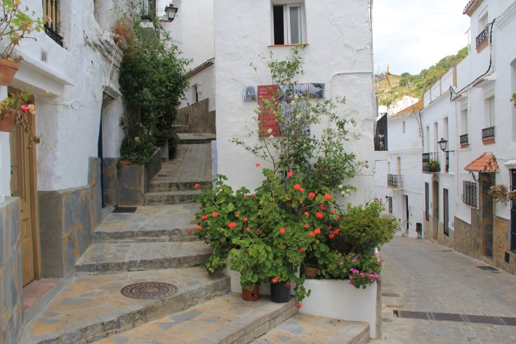 Street in Casares a white village in Spain