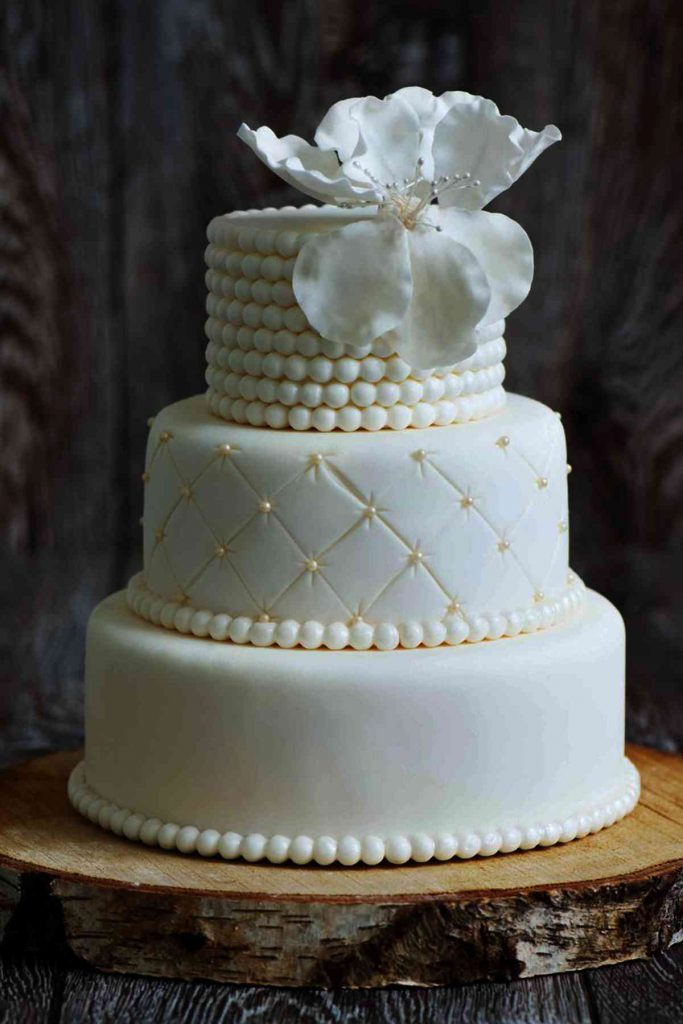 Quilted Gold Pearls Elegant Wedding Cake The French