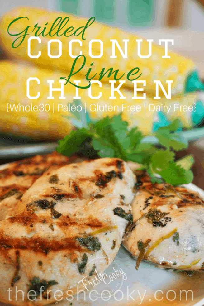 Creamy and tangy Coconut Lime Chicken Marinade made with only a handful of ingredients and is Whole30 approved. Dairy Free, Paleo and Gluten Free, this dish will please anyone! #thefreshcooky #coconutlimechicken #marinade #easyweeknightmeal #makeahead #freezerfriendly