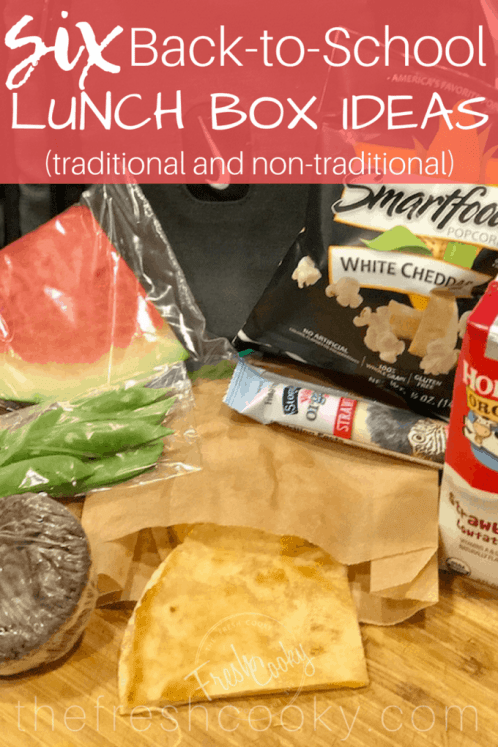 Six fresh new lunch box ideas! For traditional and non-traditional eaters, you get gain several new ideas for your kids lunch boxes this back-to-school season. #lunchideas #schoolunch #kidslunch #lunch #kids #thefreshcooky #creativelunches #whatsforlunch