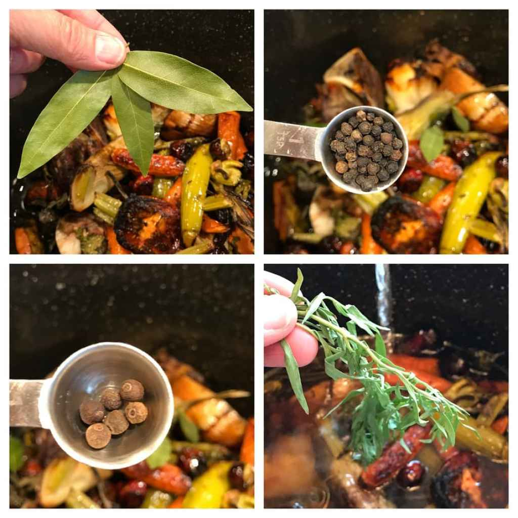 spices and herbs going into bone broth | www.thefreshcooky.com