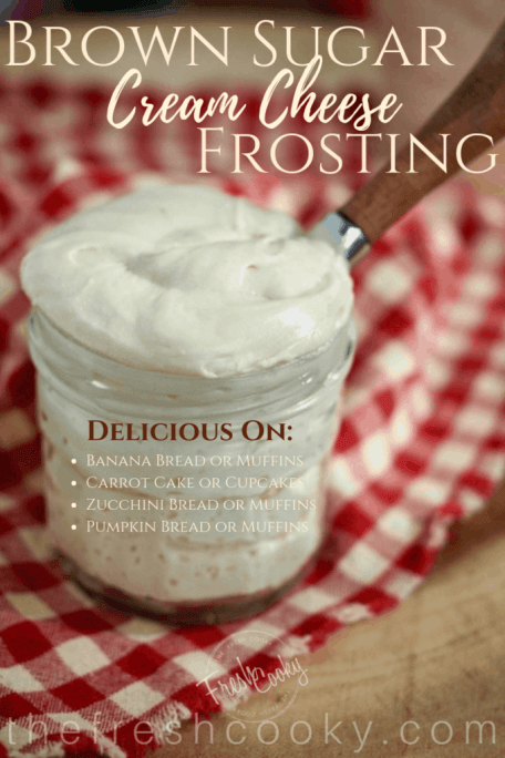 This frosting is amazing! Using brown sugar, butter, cream cheese, this frosting takes cream cheese frosting to a whole new level. #thefreshcooky #creamcheese #brownsugar #frosting #cupcakes #quickbreads