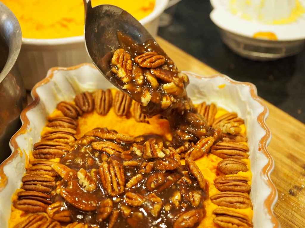 Spooned over yams | Thanksgiving Praline Yams
