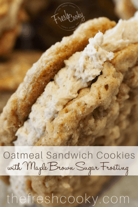 INCREDIBLE Oatmeal Sandwich Cookie recipe from thefreshcooky.com these are much better than any storebought cookie, like a handheld bowl of oatmeal! Soft, chewy, with the salty deliciousness of oats with this amazing maple, brown sugar buttercream sandwiched between. Click through for the how-to! #oatmealsandwichcookies #sandwichcookies #oatmeal #cookies #dessertrecipes #lunchboxideas #oatmealcreampie
