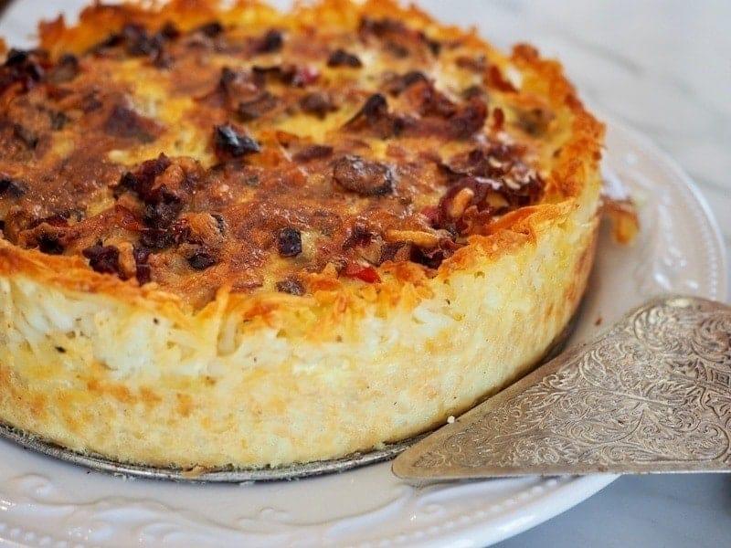AMAZING! Prosciutto & Gruyere Quiche with Hashbrown Crust #thefreshcooky#hashbrowncrust #quiche #gruyereandprosciutto