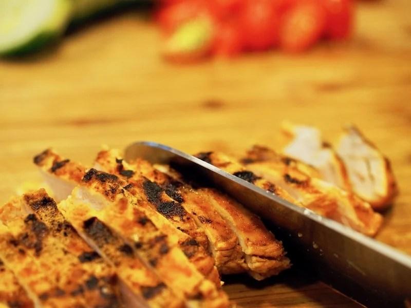 Slicing Shawarma Chicken for bowls   www.thefreshcooky.com