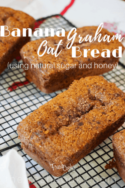 This is the moistest most flavorful banana bread recipe. With the addition of oat and graham flours, reduced sugar and a touch of honey, it makes for the perfect afterschool snack! #bananabread #oatflour #grahamflour #healthy #afterschoolsnack #simple #bananaoatbread #brunch #quickbread #thefreshcooky