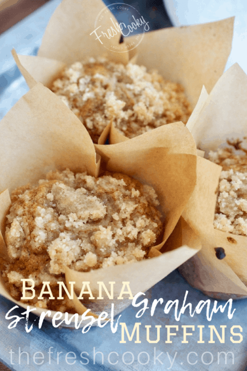 Streusel...need I say more! On top of these light, moist banana oat muffins TODAY! Loaded with Bananas, oat, graham and regular flour, lightly sweetened with a little sugar and honey they are the perfect breakfast treat or afterschool snack. #muffins #bananamuffins #oatflour #grahamflour #bananaoatmuffins #healthymuffins #moist #afterschoolsnack #kidslunch #kidfriendly #thefreshcooky