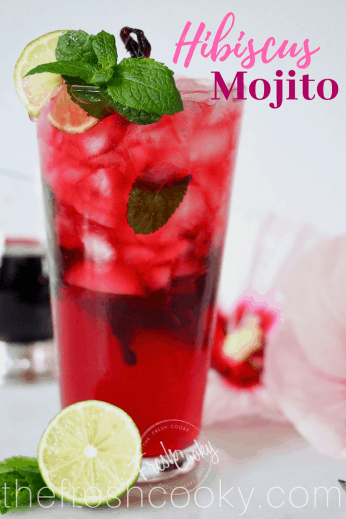 Hibiscus Mojito cocktail or mocktail | www.thefreshcooky.com