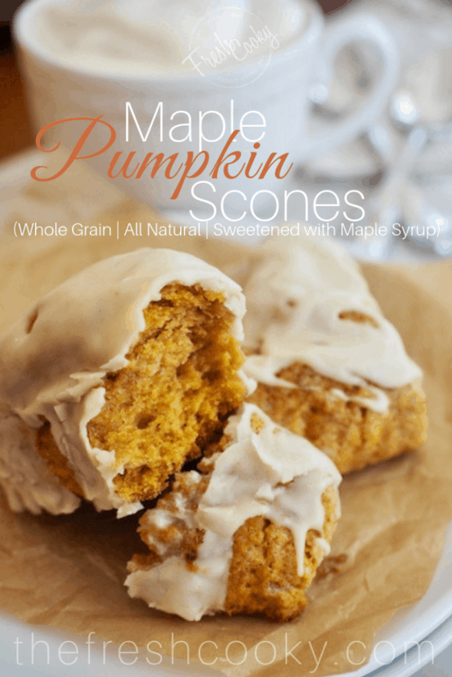 These whole grain Maple Pumpkin Scones are soft, all-natural, sweetened with maple syrup and topped with a browned butter maple glaze. Perfect with a steamy cup of coffee or chai tea. #thefreshcooky #pumpkinscones #maple #spice #scones
