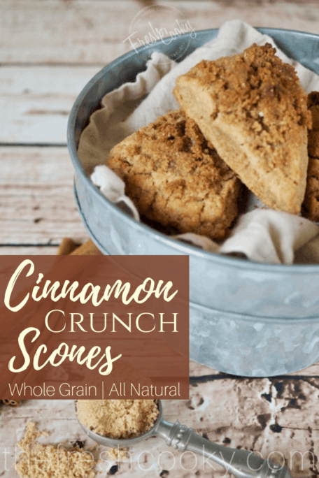 WOW, these simple Cinnamon Crunch Scones are a buttery, tender whole-grain, cream scones that are full of sweet cinnamon flavor. The cinnamon crumb crunch topping is the best part! From start to finish an hour tops. #thefreshcooky #scones #cinnamonscones #crumbtopping #brownsugar #fallbaking #recipe #brunch